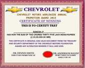 Enquiry regarding the mail that I got from Chevrolet motors