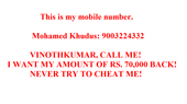 Vinothkumar has cheated Rs. 70,000 from me by sending a fake offer letter.